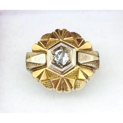 Anello in oro bianco e giallo 12 kt con diamante usato