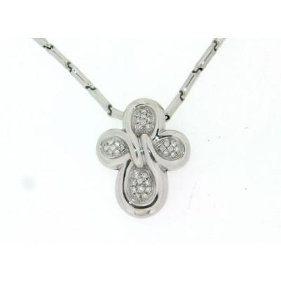 Girocollo Chimento, in oro bianco con croce con pavè di diamanti, taglio brillante usato