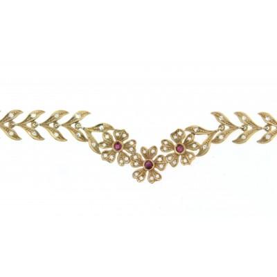 Girocollo in oro lavorazione a cera persa artigianale con diamanti e rubini
