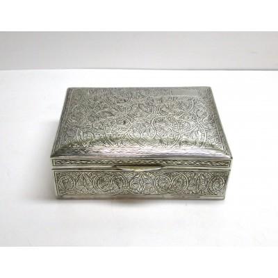Portagioie in argento di provenienza araba, interno in legno, usata