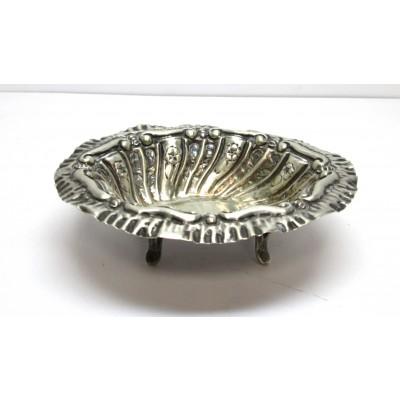 Posacenere in argento 800 di forma ovale d'epoca usato