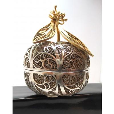 Scatola in argento, a lavorazione filigrana indiana, d'epoca
