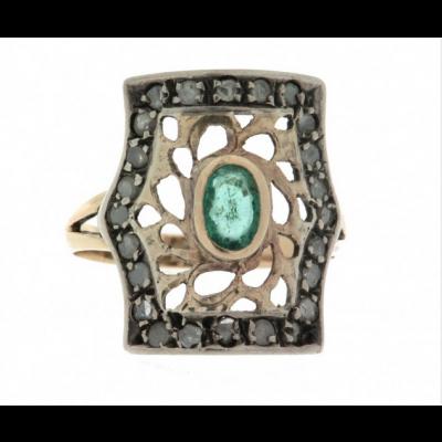 Anello in oro 18 kt e argento in stile anni 30 con smeraldo e diamanti usato