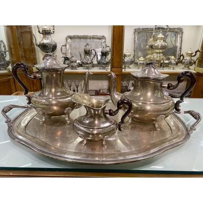 Servizio tè caffè latte argento d'epoca fatto a mano anni 50