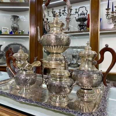 Servizio Samovar Tè e Caffè Argento 800 D'epoca