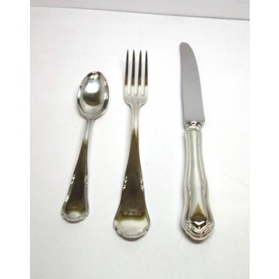 Servizio di posate in argento 800 d'epoca modello barocchino 88 pezzi bollo di fabbrica 383AL