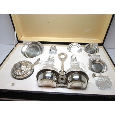 Set  Menage oliio e aceto in argento  800 d'epoca anni 60 70 stile impero usato.