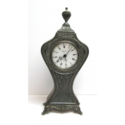 Sveglia da tavolo 8 giorni, in argento, marcata Swiza 7 Jewels, con numeri romani, usata