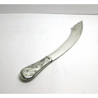 Tagliacarte in argento con manico intarsiato, usato
