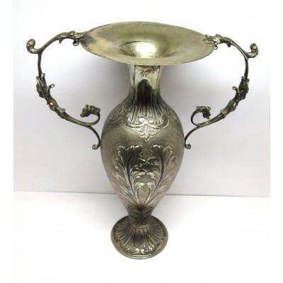 Anfora in argento 800 con decori a foglie d'epoca anni  50 usata