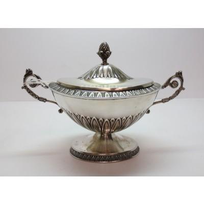 Zuccheriera in argento, d'epoca, anni '50/'60, stile impero, usata.