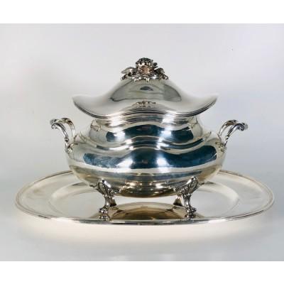 Zuppiera con piatto ovale in argento 800 d'epoca anni 60