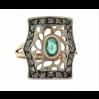 Anello in oro 18 kt e argento in stile anni 30 con smeraldo e diamanti