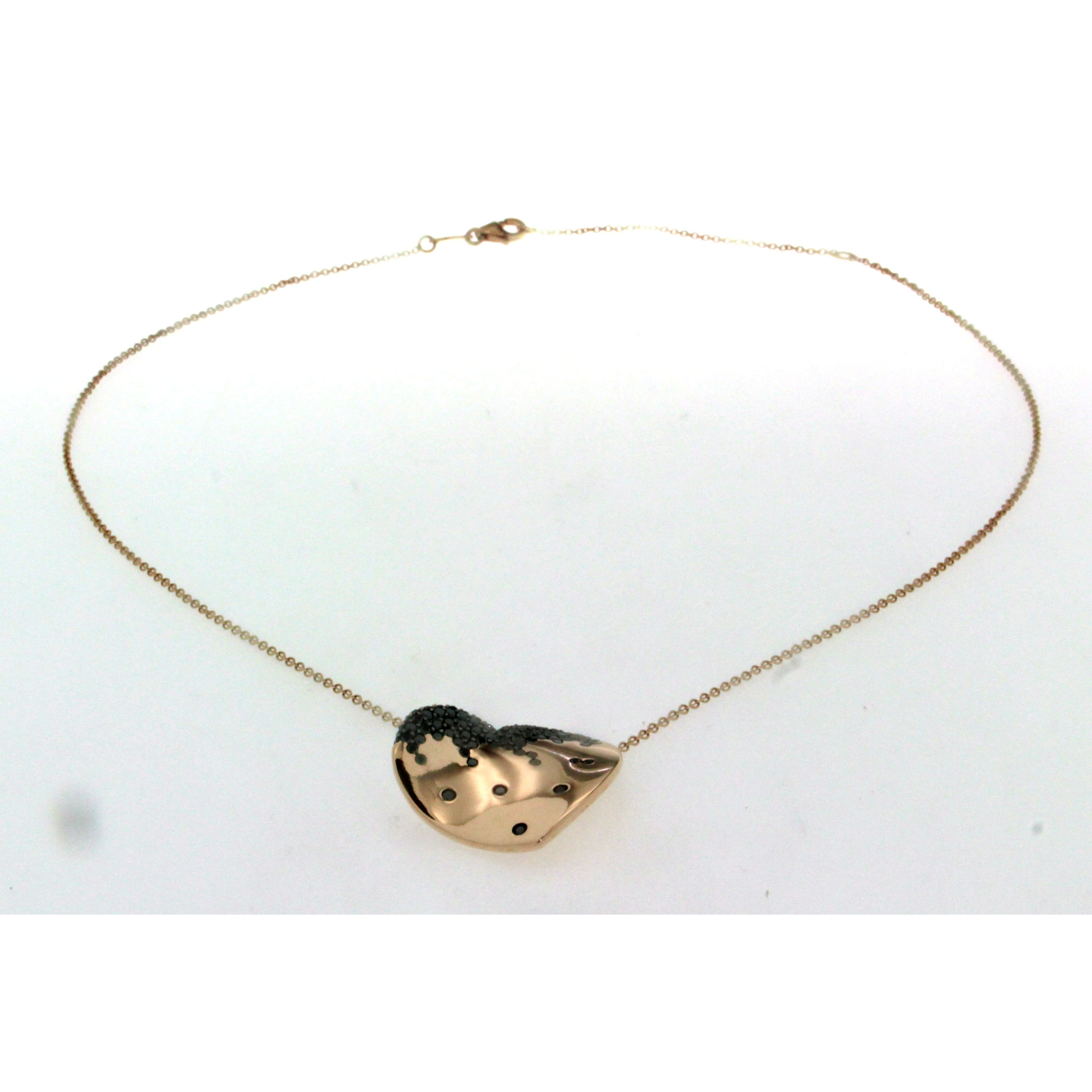 Necklace in 18ct rose gold with pavé set black diamonds heart pendant