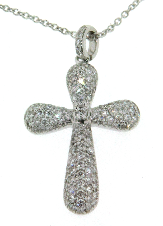 collier cha ne en or blanc 18k avec pendentif croix pav de diamants. Black Bedroom Furniture Sets. Home Design Ideas